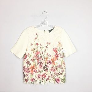 Sunday in Brooklyn Anthropologie floral lace top M